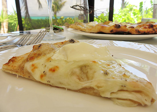 a slice of bianca pizza at covecastles