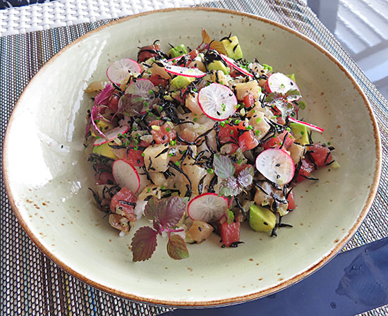 ahi tuna and kingfish poke bowl at malliouhana