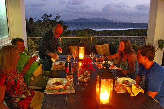 dinner is served by alfred portale at tequila sunrise villa