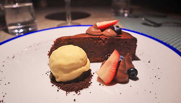 Caprese Chocolate & Almond Cake with Mango Ice-cream at Cips At Belmond Cap Juluca