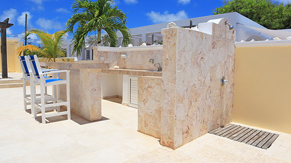almond tree villa wet bar and outdoor shower