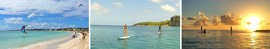 anguilla watersports banner featuring sup sunset and kitesurfing
