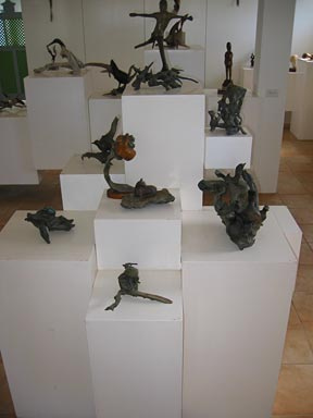 Anguilla art gallery interior with sculputures