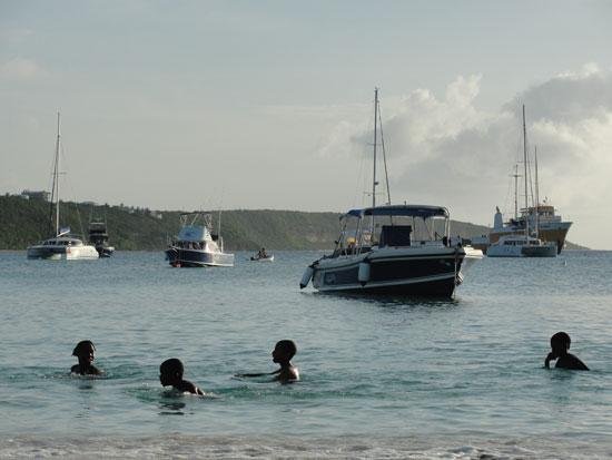 Anguilla beaches, Sandy Ground, boats