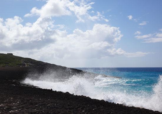 beautiful waves crashing on rocks at captains bay