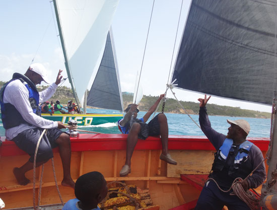 catching the wind leaning on the jib of an anguilla racing boat