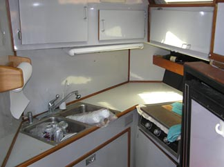 Kitchen inside this Anguilla boat