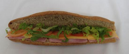 long bread sandwich at halls