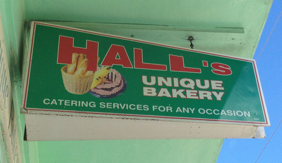 halls unique bakery sign