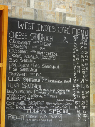 daily menu at west indies cafe