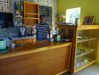 inside the west indies cafe with suzan