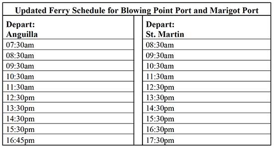 post irma anguilla ferry schedule