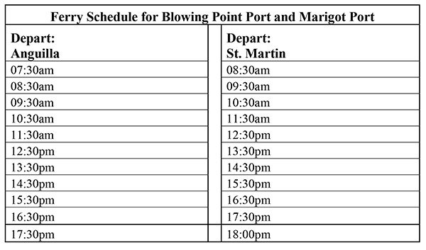 post irma anguilla ferry schedule