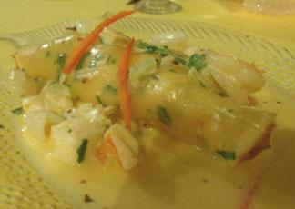 Anguilla hotels, Allamanda Beach Club, Anguilla restaurants, Zara's, appetizer, seafood crepe