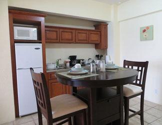 kitchen inside la vue hotel room