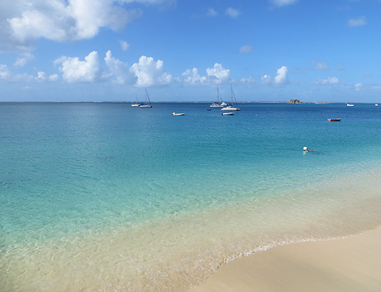 the view of grand case beach from ocean 82