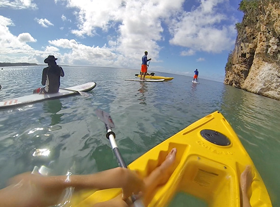 taking a break while kayaking and suping around little bay