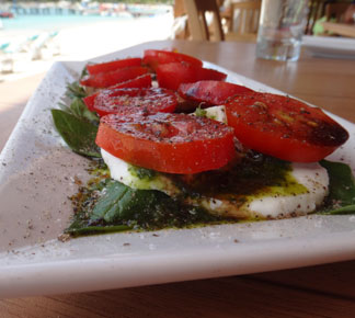 upclose shot of sandbar caprese salad