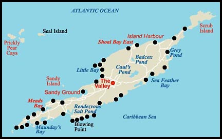 Map of Anguilla and beaches