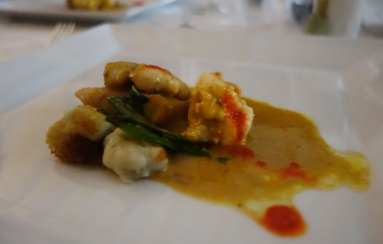 crayfish and snapper with sea urchin at chef denise carr pop up restaurant