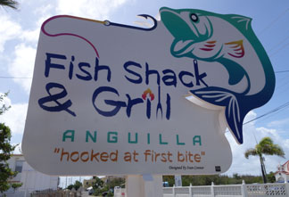anguilla restaurant fish shack and grill sign