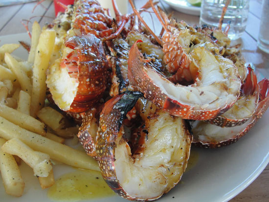 Anguilla restaurant, On Da Rocks, $5 crayfish, Island Harbour