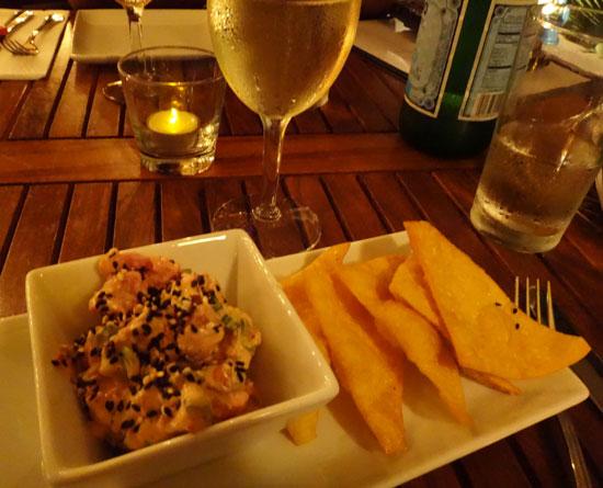 Anguilla restaurants, SandBar, Tuna poki, tuna poke, tapas, wontons
