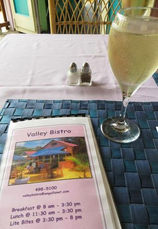 Anguilla restaurant, Valley Bistro, menu, wine