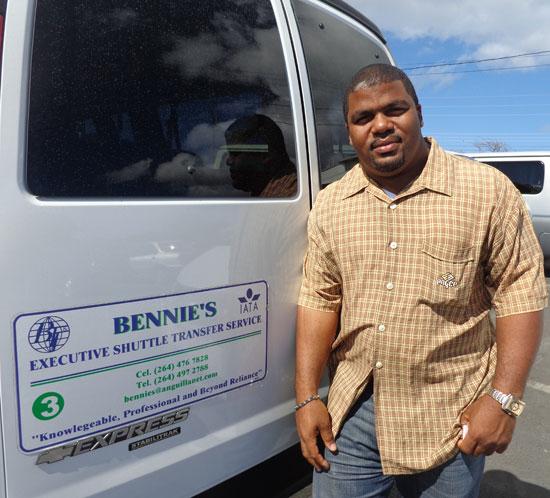 Anguilla taxis, Glennis Connor, Blue Sea Anguilla, Bennie's