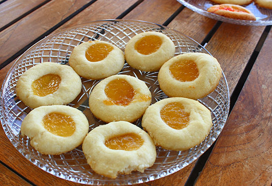 thumbprint jam cookies made from anguilla jam