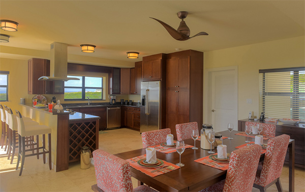 dining area and kitchen at moondance villa