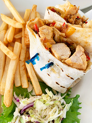 Rendezvous Bay, The Place asain chicken wrap