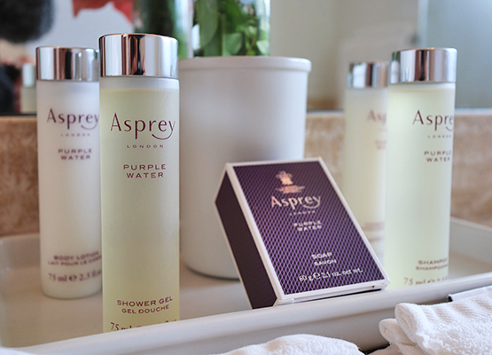 Asprey Toiletries, soap, conditioner, shampoo, shower gel and lotion