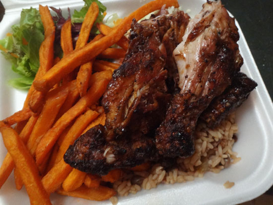 B&D chicken platter with sweet potato fries