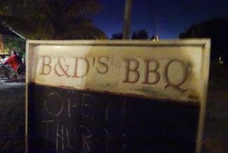 b&d bbq sign
