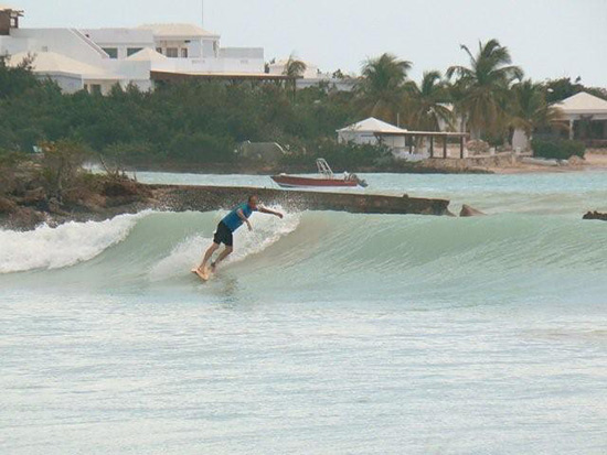 bart van deventer surfing anguilla during hurricane
