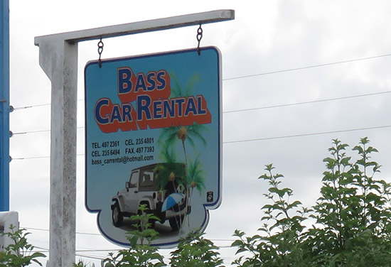 bass car rental sign in anguilla