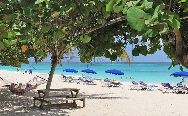 beach scene at tropical sunset anguilla