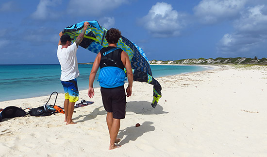 judd burdon giving a kitesurfing lesson in anguilla