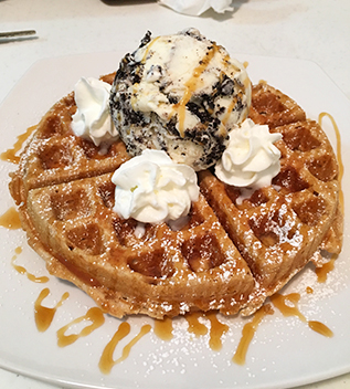 belgian waffle with cookies and cream
