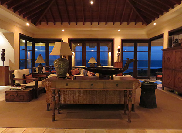 inside the great room at night at bird of paradise villa