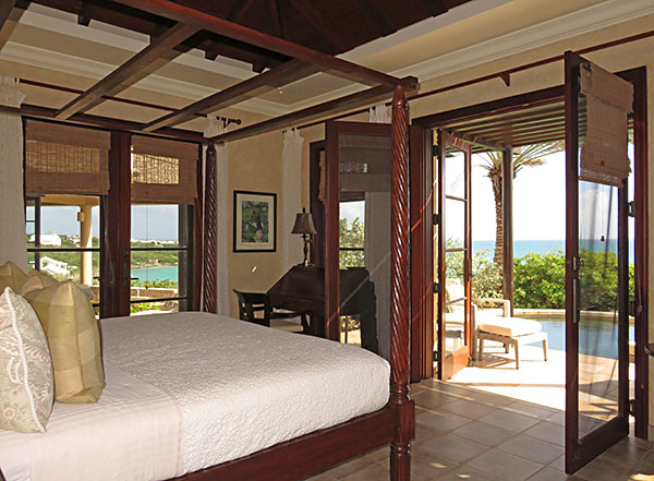 the master bedroom at bird of paradise villa