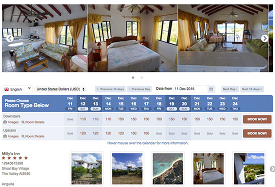 booking engine for milly's inn