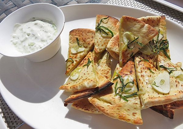 rosemary pita with tzatziki at breezes