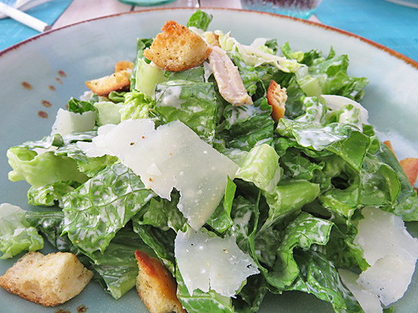 caesar salad at bamboo bar and grill