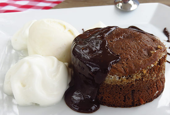 chocolate cake at cafe de paris