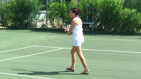 playing tennis at carimar
