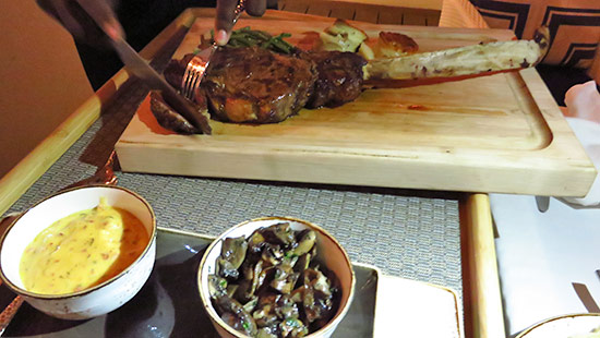 carving the tomahawk steak at malliouhana