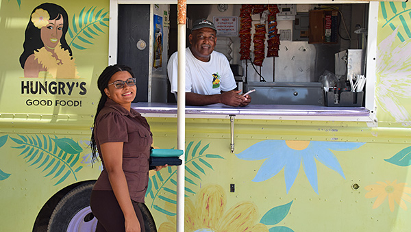 cassie and chef at the hungrys good food van, anguilla