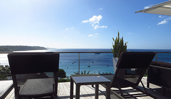 view from the lounge chaises